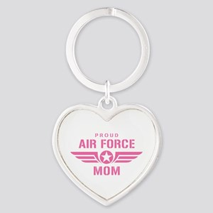 Proud Air Force Mom W [pink] Heart Keychain